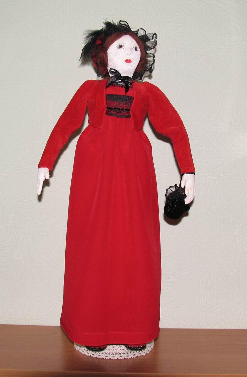 Леди в красном - Авторская кукла из текстиля. Частично грунтована. Высота 45 см. Материалы: хлопок, шелк, шерсть, кожа. Стоит с подставкой. Единственный экземпляр. Цена - 5000 рублей.